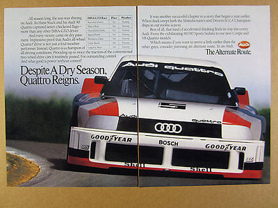 1989 Audi 90 Quattro IMSA-GTO Race Car photo vintage print Ad