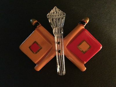 Vintage 1940's Bakelite And Lucite Signal Flags Military Pin    Rare