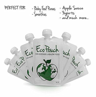Eco Pouch (8pk of 6oz) - Premium Quality Reusable Food Pouch dishwasher safe