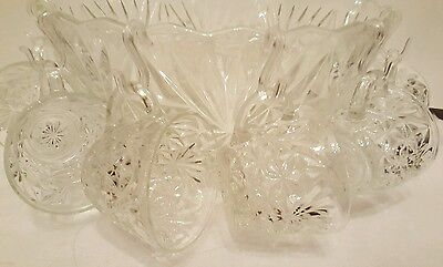 Vintage Punch Bowl Holiday Clear Cut Glass 10 Cups & Clips Starburst Pattern