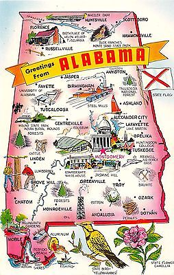 State Map postcard Greetings from Alabama chrome large letter AL