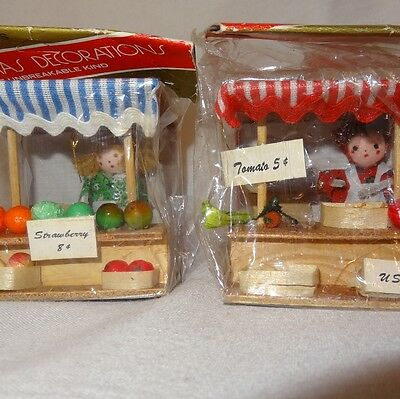 2 Pair Fruit Veggie Farmers Market Ornament Wooden Christmas Miniature Bradfords