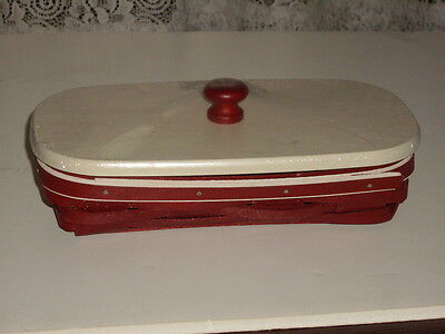 longaberger holiday helper red basket with lid and plastic insert
