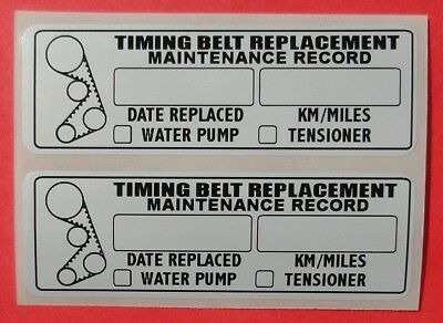 10 Timing Belt Water Pump Tensioner Replacement Sticker Decal 3X1 Erma755152