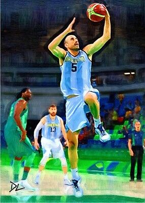 Manu Ginobili Argentina Olympic Sketch Card *Artist Signed* Rare 2/5 Only 5 Made
