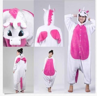 Unicorn Kigurumi Pajamas Animal Cosplay Costume Unisex Adult Onesie Sleepwear L