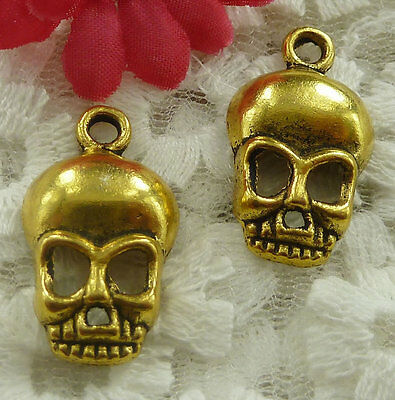 free ship 120 pieces gold plated skull charms 27x16mm #2145