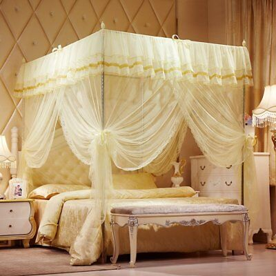 NEW Purple Four 4 Post Bed Canopy Netting Curtains Sheer Panels ...