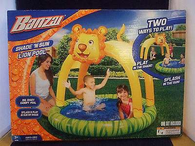 New Kids Banzai Lion Jungle Baby Inflatable Swimming Pool w/ Canopy Blow Up