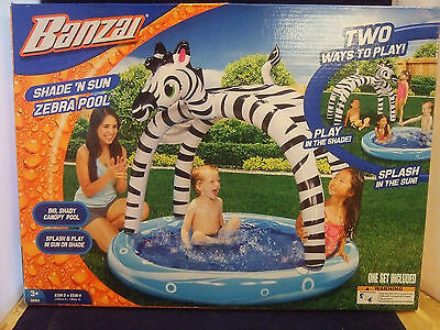 NEW Kids Baby Blow Up  Zebra Inflatable Swimming Pool Canopy Easy Set up