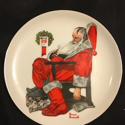 """Norman Rockwell Christmas Decorative Plate 6""""  Santa The Day After Christmas"""