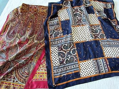 Silk Scarf Vintage Lot Paisley Abstract New ECHO Club 7 Quilt Navy Burgundy Grey