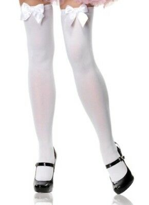 Long White Costume Socks With White Bows  - Thigh High, One Size - Aussie Selle