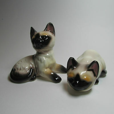 A pair of Ceramic Cats Unmarked Mid Century Kitsch with small blemish on ear