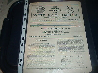 West Ham Utd Reserves v Leyton Orient March 1953 Combination Cup
