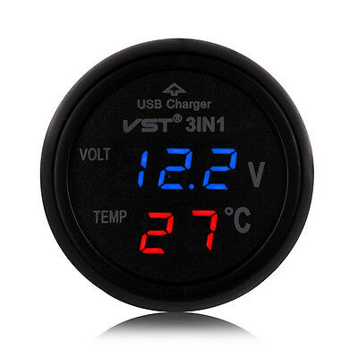 3in1 USB Car Auto Charger Voltmeter Ammeter Thermometer &Tempetue Monitor 12/24V