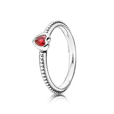 Genuine Pandora S925 Ale Silver Red Ruby Heart Ring 52-54-56-58 In Pouch/box