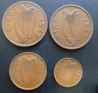 IRELAND COINS (4) 1942 - 1946 penny - 1928 1/2 penny - 1943 farthing.