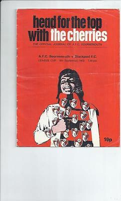 Bournemouth v Blackpool League Cup Football Programmes 1972/73