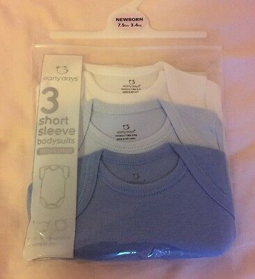 Brand New Pack Of 3 Baby Boys Vests Newborn Blue And White Primark Bodysuits
