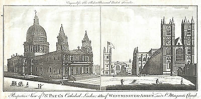 St Paul's Cathedral, Westminster Abbey & St Margaret's Church, London  c1785