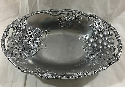 Arthur Court Grape Vine Decorative Metalware Aluminum Pedestal Bowl Dish 2001