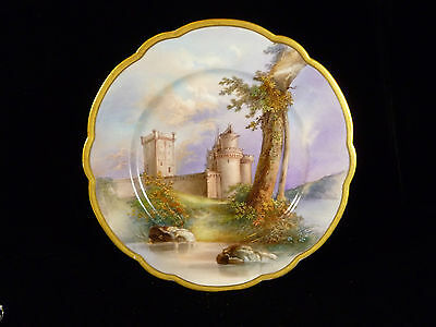 Stunning 19Th Century French Hand Painted Castle Scene Plate