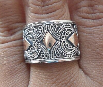 925 Sterling Silver-RL166-Balinese Handcrafted Ring & Gold 22kt Size 8