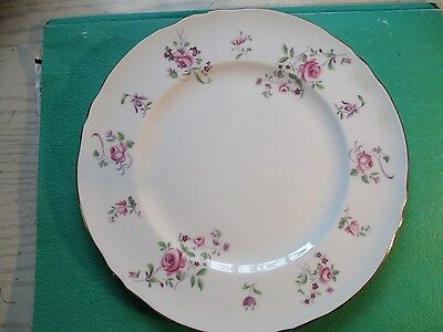 """* Crown Staffordshire Fine Bone China 8 3/8"""" Salad  plate- scalloped, Pink Roses"""