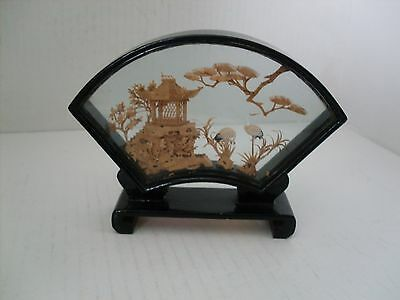 Vintage  Fan Shaped Chinese Cork Picture.