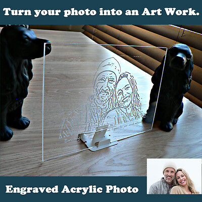 Personalised Custom Clear Engraved Acrylic Photo Line Pop Art, Unique Religious
