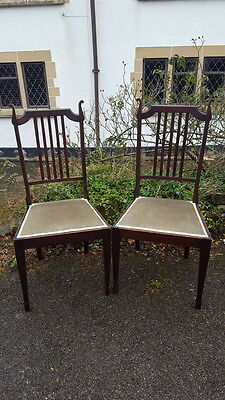 A Pretty Pair of Antique Arts & Crafts Bedroom Chairs Lovely Shape Green Seats