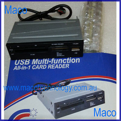 """3.5"""" USB 2.0 All in One CF/MicroSDetc Card Reader black/silver/beige Front Panel"""