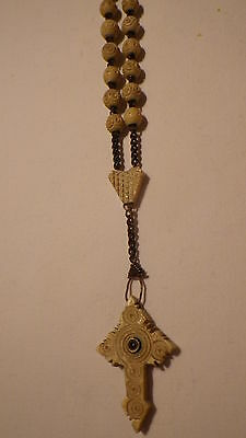 Antique Hand Carved Rosary Beads Cross Stanhope Picture St.vincent De Paul