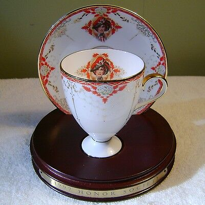 Avon Honor Society 1997 Cup & Saucer Set W/ Display Stand Nikko
