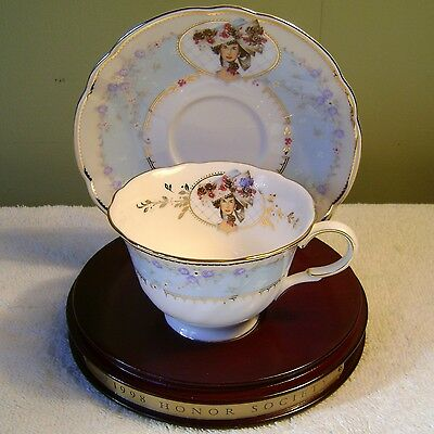Avon Honor Society 1998 Cup & Saucer Set W/ Display Stand Nikko