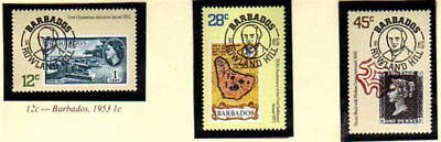 Barbados 1979 Sir Rowland Hill Centenary Set Of All 3 Commemorative Stamps Mnh