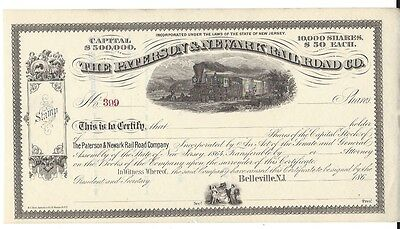 """The Paterson & Newark Railroad Co......1860""""s Unissued Stock Certificate"""