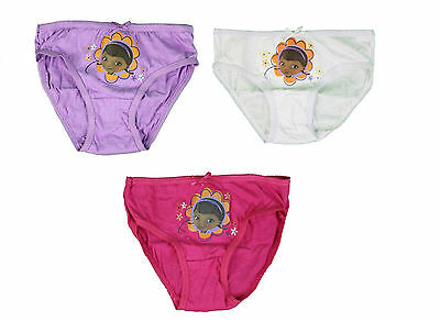 Girls Knickers 3 Pack Briefs Disney Doc Mcstuffins Underwear 2-8 Years