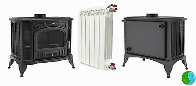12kW WOOD BURNING Back Boiler Central Heating Stove  5 years warranty