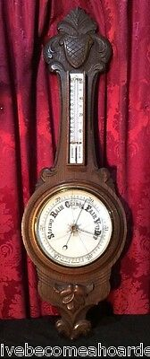"""Vintage Antique Carved Oak 36"""" Wall Hanging Thermometer Aneroid Barometer"""