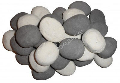 10 White & Grey Gas Fire Replacements/stones/pebbles Gas Fire Rcf Replacement