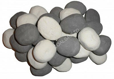 20 White & Grey Gas Fire Replacements/stones/pebbles Gas Fire Rcf Replacement