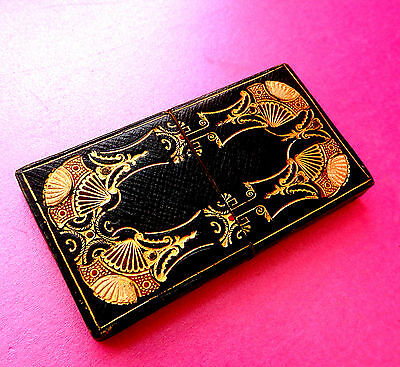 Antique Sewing Needle Box,gold & Red Ornate Tooled Hand Work.