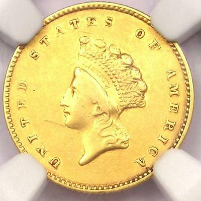 1855 Type 2 Indian Gold Dollar (G$1 Coin) - Certified NGC XF Detail - Rare Date!