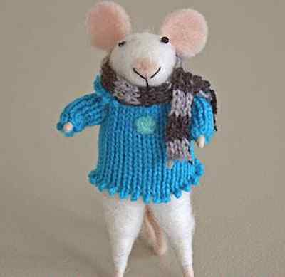 New Cute Pin Felt Needle Felt Collectible Mouse Figure with Blue Knitted Jumper