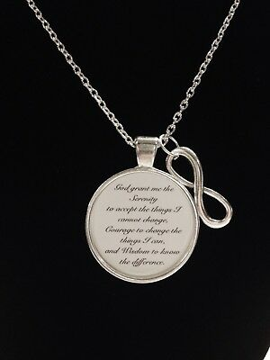 Infinity Bible Scripture Serenity Prayer God Religious Inspirational Necklace