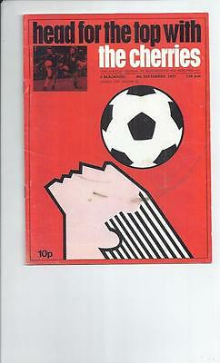 Bournemouth v Blackpool League Cup Football Programmes 1971/72