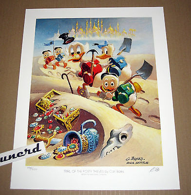 Carl Barks Litho: Trail of the forty Thieves - Vorstudie, nummeriert, signiert