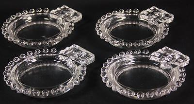 Candlewick Glass Coasters / Ashtray 2 Slot Imperial Set of 4 Stem #3400